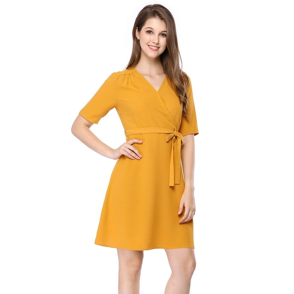 Women's Short Sleeve V Neck Belted Above Knee A Line Dress - Yellow