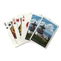 Oregon Coast - Lighthouse Scene - LP Artwork (Poker Playing Cards Deck)