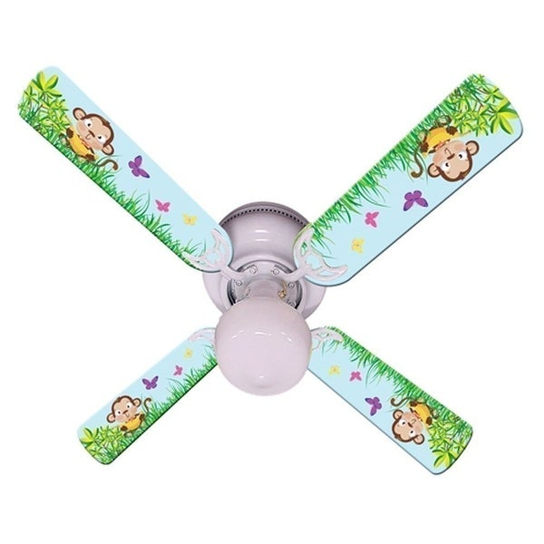 Blue Cute Monkey Print Blades 42in Ceiling Fan Light Kit - Multi