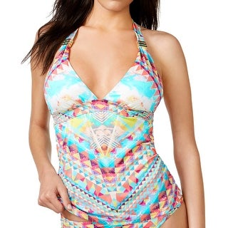 Bar III Skylar Womens Swimsuit Tankini Top X-Small Multi-Color Printed Halter