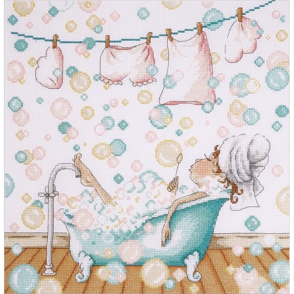"Blowing Bubbles Counted Cross Stitch Kit-12""X12"" 14 Count"