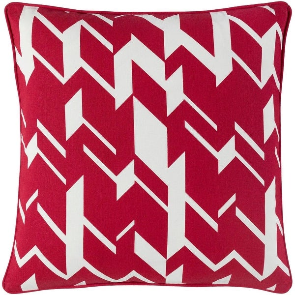 "18"" Red and White geometric-pattern Woven Piping Square Throw Pillow"