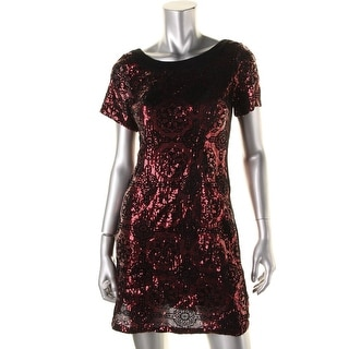 Plenty Dresses Tracy Reese Womens Sequined Flocked Party Dress