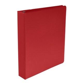 School Smart Polypropylene Round Ring Binder, 1-1/2 Inch, Red