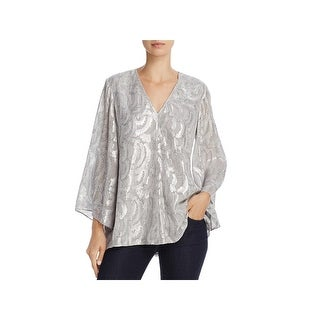 Elizabeth and James Womens Ariel Pullover Top Silk Metallic
