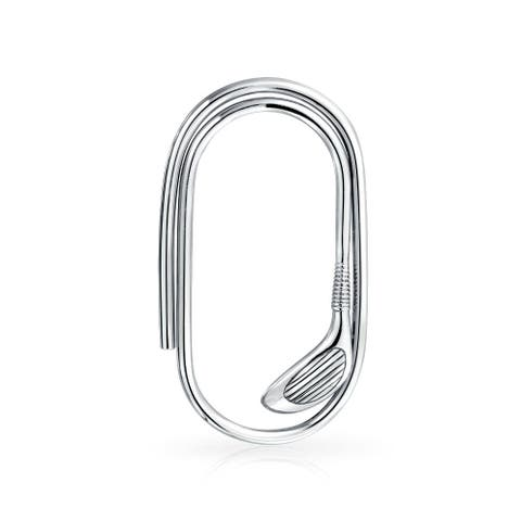 Golf Club Golfers Paper Clip Large Money Clip For Men Engravable Credit Card Polished 925 Sterling Silver