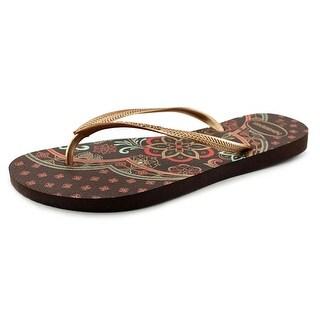 Havaianas Slim Thematic Women Open Toe Synthetic Brown Flip Flop Sandal