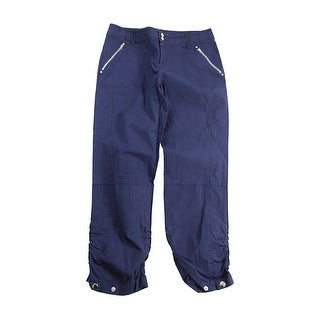 Inc International Concepts Petite Navy Zipper Ruched Ankle Pants 8P