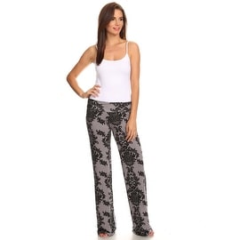 Women's Damask Grey Printed Palazzo Pants Made in USA