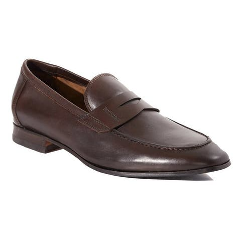 Paul Stuart Mens Harlan Penny Loafer Shoes Dark Brown - Made In Italy