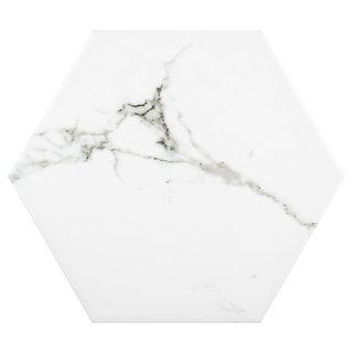 Link to SomerTile 8.625x9.875-inch Intemporel Calacatta Hex Porcelain Floor and Wall Tile (25 tiles/11.56 sqft.) Similar Items in Tile