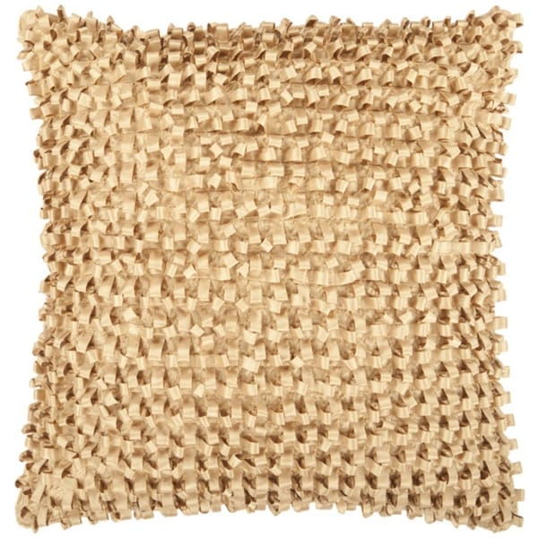 "18"" Gold Cumin Ribbon Weave Decorative Down Throw Pillow"