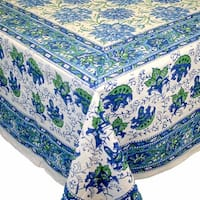 Handmade Lotus Flower Block Print 100% Cotton Tablecloth Blue 60x90 Inches Rectangular 72 Inch Round 60x60 Inch Square Napkins