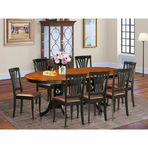 East West Furniture - Dining Set Black and Cherry Dining Table with 8 Dining Chairs (Chair Seat Option)