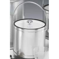 Kraftware 76364 Mylar Brushed Chrome 3 Quart Ice Bucket with Bale Handle  Lucite Cover with Flat Knob