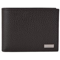 Gucci Men's 143384 Brown Leather Plaque Logo W/Coin Pocket Bifold Wallet