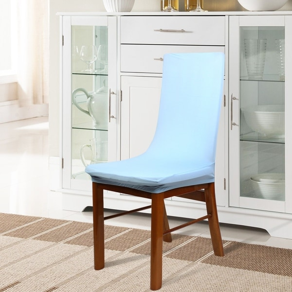 Unique Bargains 3 Pcs Light Blue Spandex Stretch Dining Chair Cover  Protector