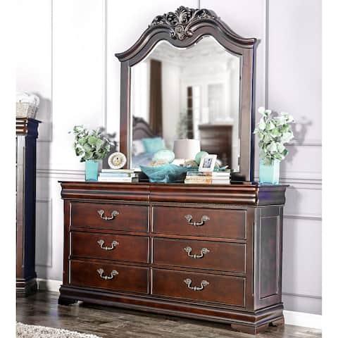 Furniture of America Jeannine Cherry Hidden Storage 6-Drawer Dresser
