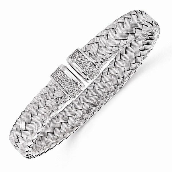 Italian Sterling Silver CZ Woven Flexible Cuff