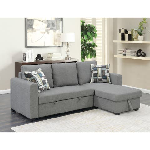 Porch & Den Highline Reversible Sectional & Fold-Out Sleeper with Storage
