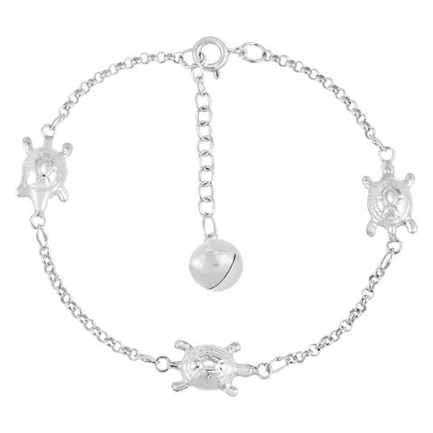 Handmade Cute and Stylish Little Turtles Sterling Silver Chain Jingle Bell Bracelet (Thailand)