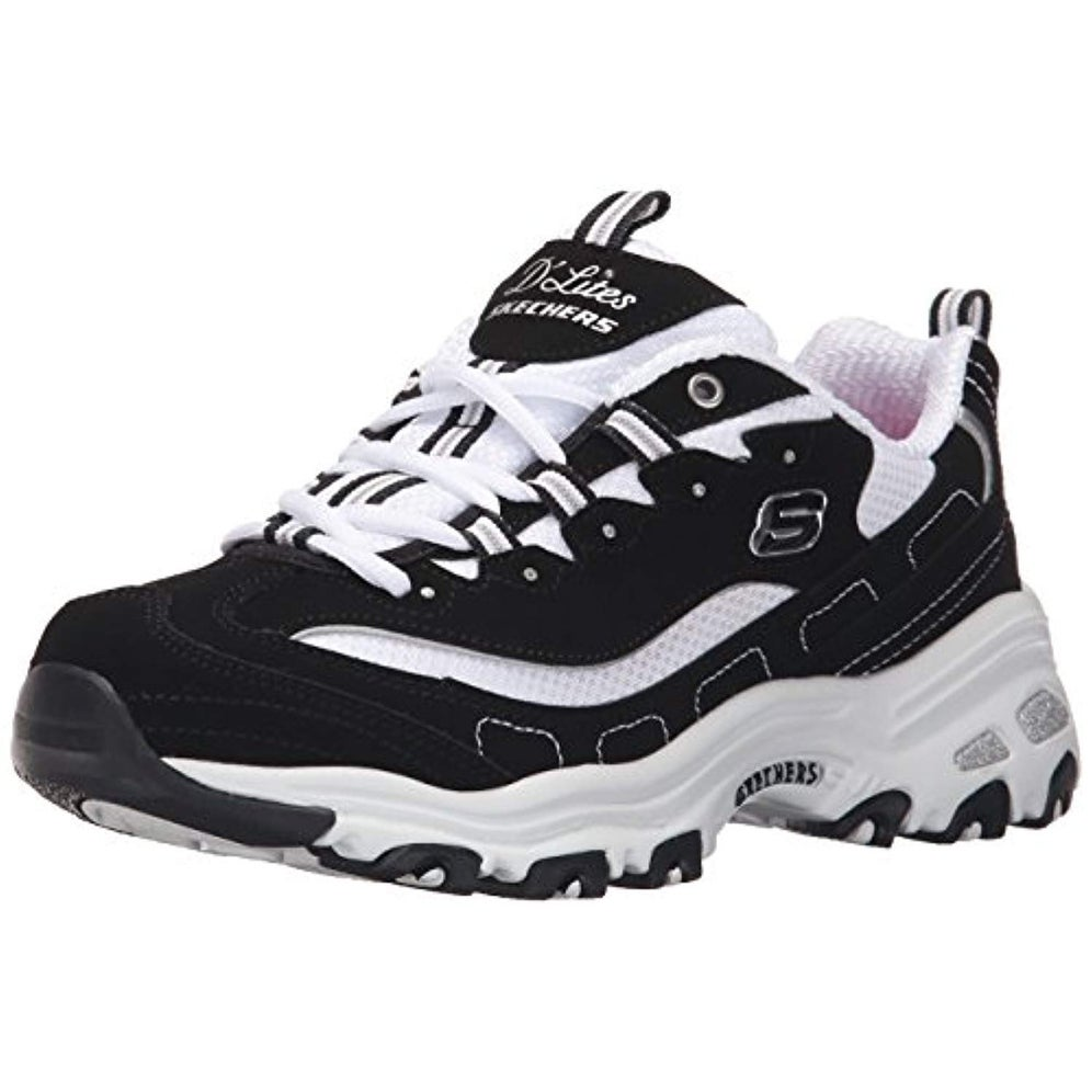 Skechers Women's D'Lites Biggest Fan Sneakers, BlackWhite, 8 M US