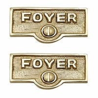 2 Switch Plate Tags FOYER Name Signs Labels Lacquered Brass | Renovator's Supply