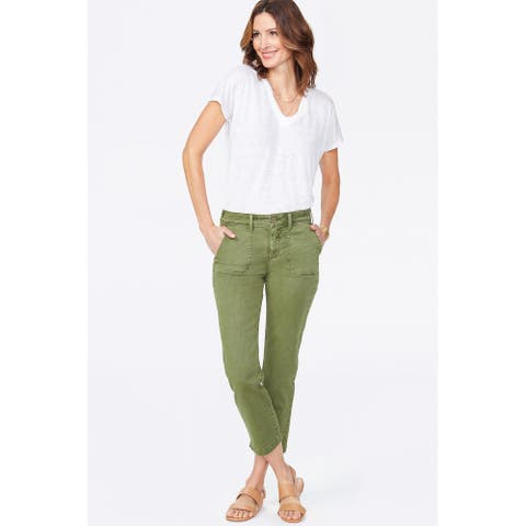 NYDJ Womens Green Cotton Pocketed Straight leg Jeans Size 0
