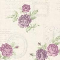 Brewster 2532-20451 Venetia Violet Vintage Rose Toss Wallpaper - venetia violet vintage rose toss - N/A