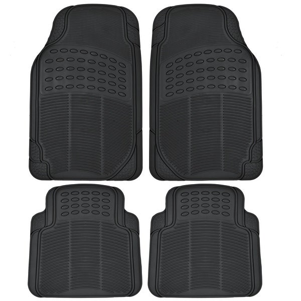 KM World 4 Piece Premium Heavy Duty All Weather Maximum Protection Rubber Car Floor Mat Black