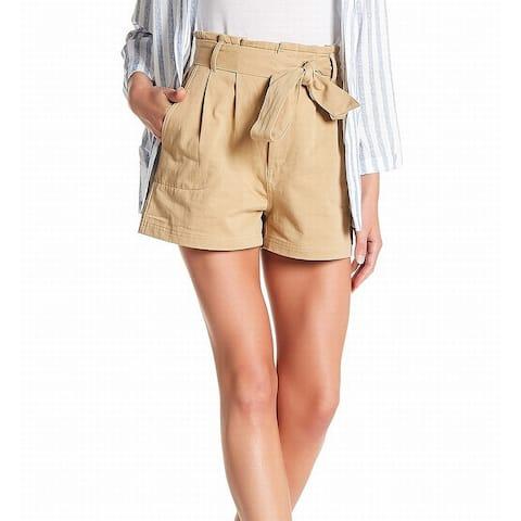 Elodie Khaki Womens Tie-Waist Pleated Dress Shorts