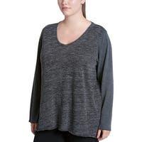 Calvin Klein Gray Women's Size 2X Plus Heathered V-Neck Sweatshirt