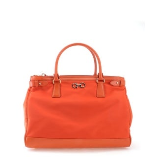 Salvatore Ferragamo Ginny Leather Tote Handbag - Orange - M