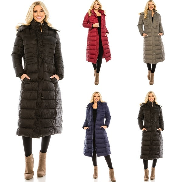 Haute Edition Women's Maxi Length Quilted Puffer with Fur Lined Hood. Opens flyout.
