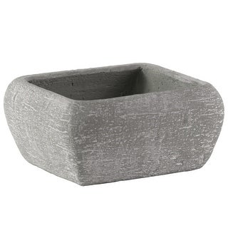 Cement Recessed Lip Low Square Pot With Tapered Bottom, Large, Light Gray