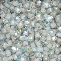 True2 Czech Fire Polished Glass, Faceted Round 2mm, 50 Pieces, Crystal Blue Rainbow