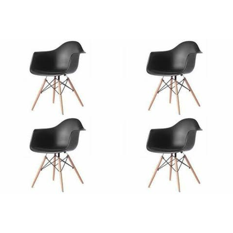 Kids Favourite Eiffel Bucket Dining Chair with Wooden Leg(set of Four)
