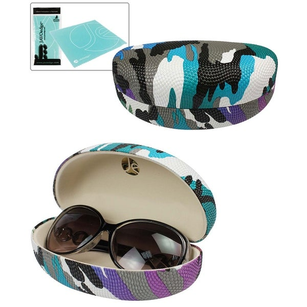 JAVOedge Camouflage Pattern Textured Hard Clamshell Style Sunglass / Eyeglass Case + Bonus Mircofiber Cloth - beige