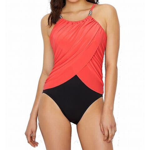 MagicSuit Orange Womens Size 8 Draped Underwire One-Piece Swimsuit