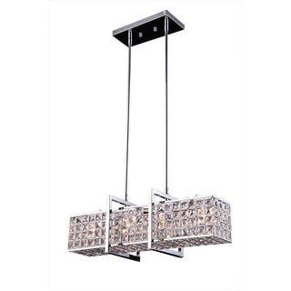 """Bromi Design B1804 Halo 4 Light 29"""" Wide Linear Chandelier with Crystal Features"""