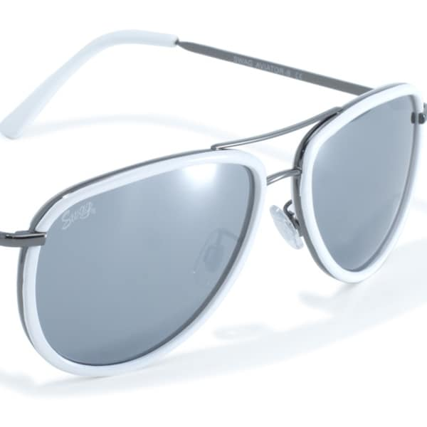 a496efb533 Shop White Rimmed Aviator Style Sunglasses by Swag - Free Shipping On  Orders Over  45 - Overstock - 23052665
