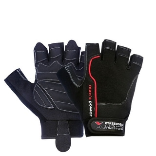 Weight Lifting Gloves Fitness Gym Training Glove Fastener Strap Leather Black G5