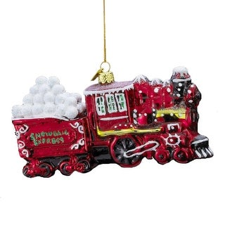 """5"""" Noble Gems Snowball Express Red Train Glass Blown Christmas Ornament"""