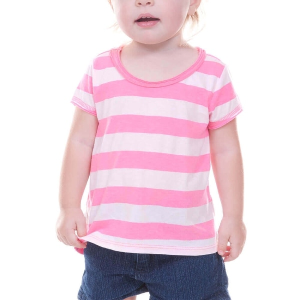 Kavio! Infants Striped Jersey Scoop Neck High-Low Short Sleeve Striped
