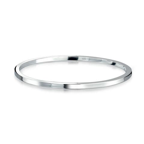 Solid Flat Round Stackable Smooth Polished Bangle Bracelet For Women For Girlfriend Polished 925 Sterling Silver