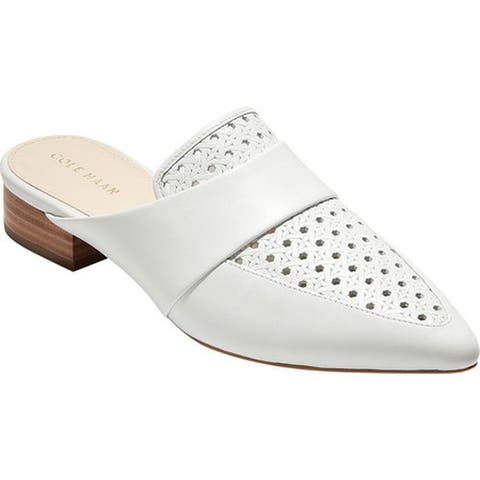 Cole Haan Women's Marlee Mule Optic White/Open Embossed Weave/Leather