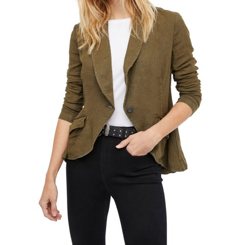Free People Olive Green Womens Size Small S One Button Jacket