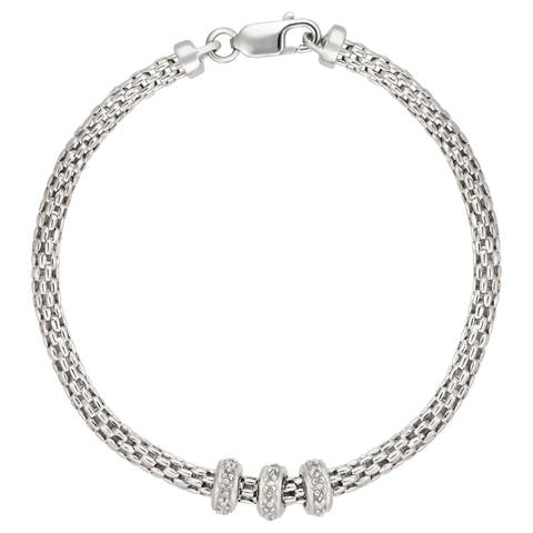 Forever Last Sterling silver Mesh Chain With Three Rondels