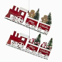 """Set of 6 Vibrantly Colored """"Merry Christmas"""" Train Ornaments Holiday Decor 9"""" - WHITE"""