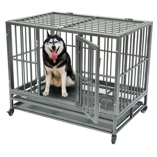 """Link to 42""""Dog Cage Crate Kennel Metal Pet Playpen Portable with Tray Similar Items in Dog Furniture"""